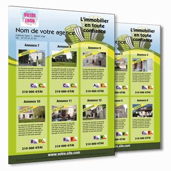 flyer immobilier pour 12 annonces de biens immo. Black Bedroom Furniture Sets. Home Design Ideas