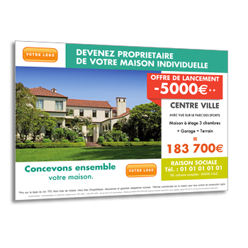 Impression de flyers immobilier achat vente location for Projet achat immobilier