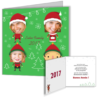 Carte de voeux 2017 humour en famille for Carte de voeux humour