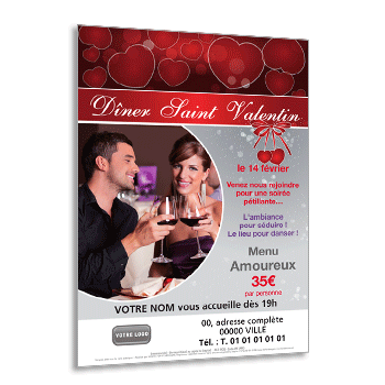 Personnaliser Flyer Saint-Valentin dîner spectacle