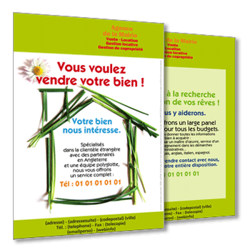 Impression de flyers immobilier achat vente location for Location appartement sans agence immobiliere