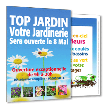 Personnaliser Flyer A5 jardinerie Recto-Verso avec photo